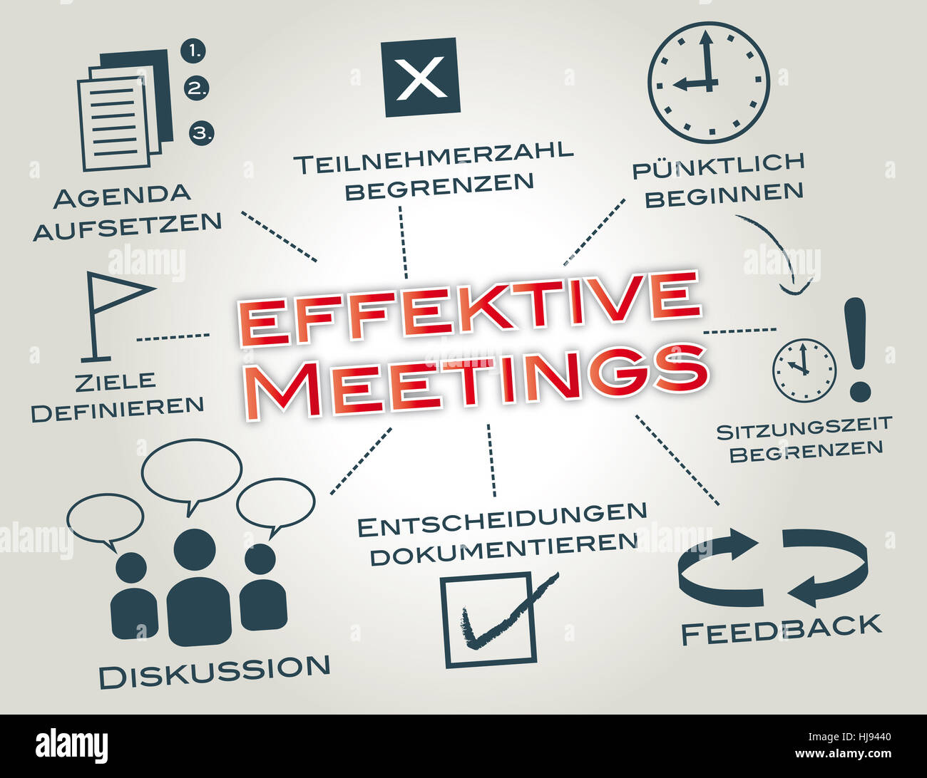 effective meetings,meeting,optimize keywords,concept - Stock Image