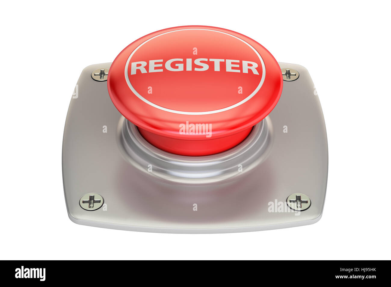 Register Red button, 3D rendering isolated on white background - Stock Image