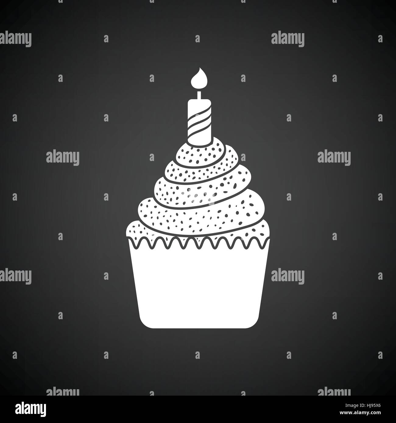 First birthday cake icon Black background with white Vector Stock