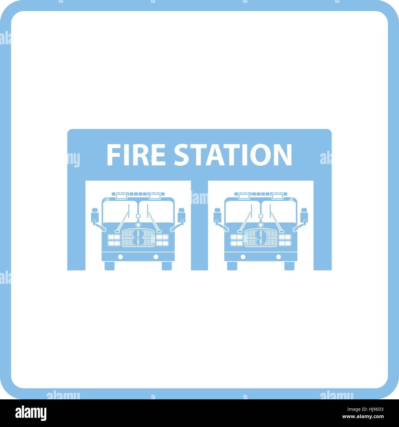 Fire station icon. Blue frame design. Vector illustration Stock ...