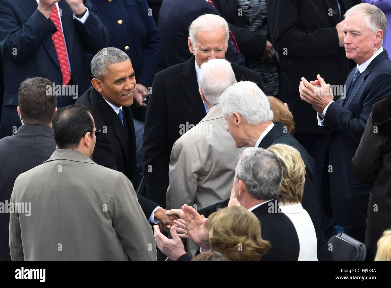 President barack obama greets former president bill clinton as he president barack obama greets former president bill clinton as he arrive for the 68th president inaugural ceremony on capitol hill january 20 m4hsunfo