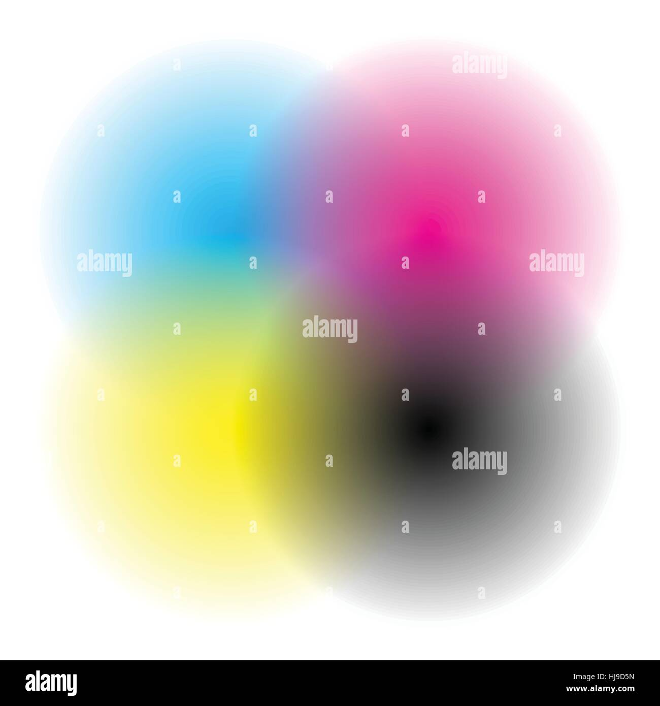 Color wheel / color chart with blended, faded circles for color theory concepts or as generic element Stock Vector