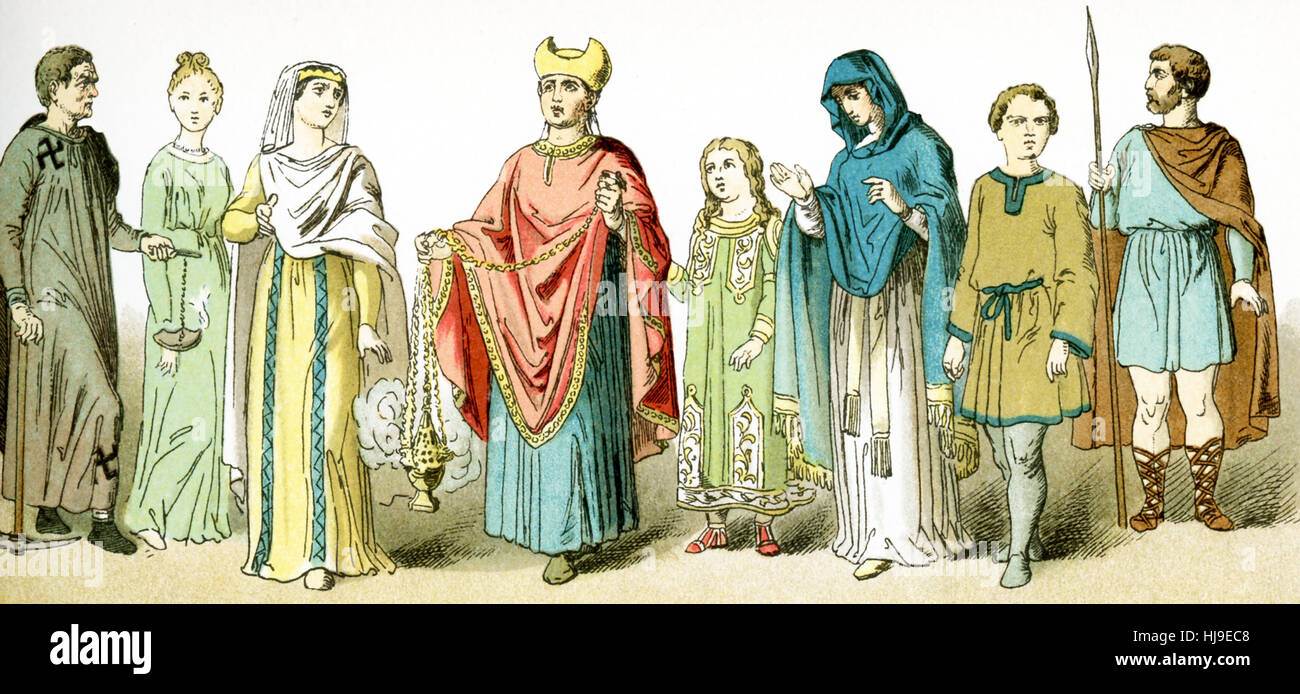 The figures represented here, from left to right, represent ancient Roman Christians. From left to right, they are: - Stock Image