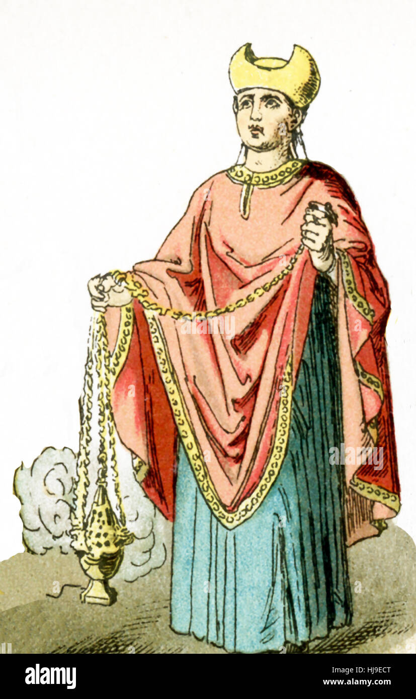 The figure represented here represents an ancient Roman Christian priest. The illustration dates to 1882. - Stock Image
