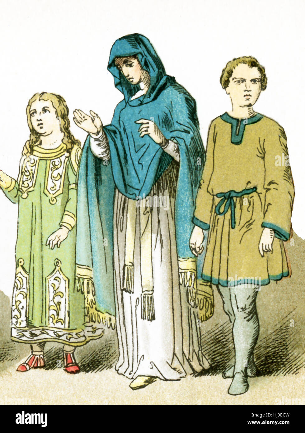The figures represented here represent ancient Roman Christians: a woman with two children. The illustration dates - Stock Image