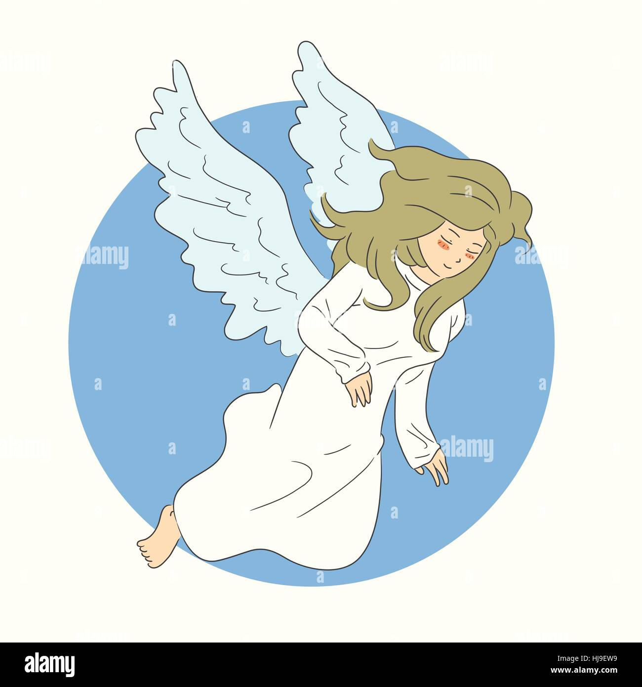 hand drawn angel flying - Stock Vector