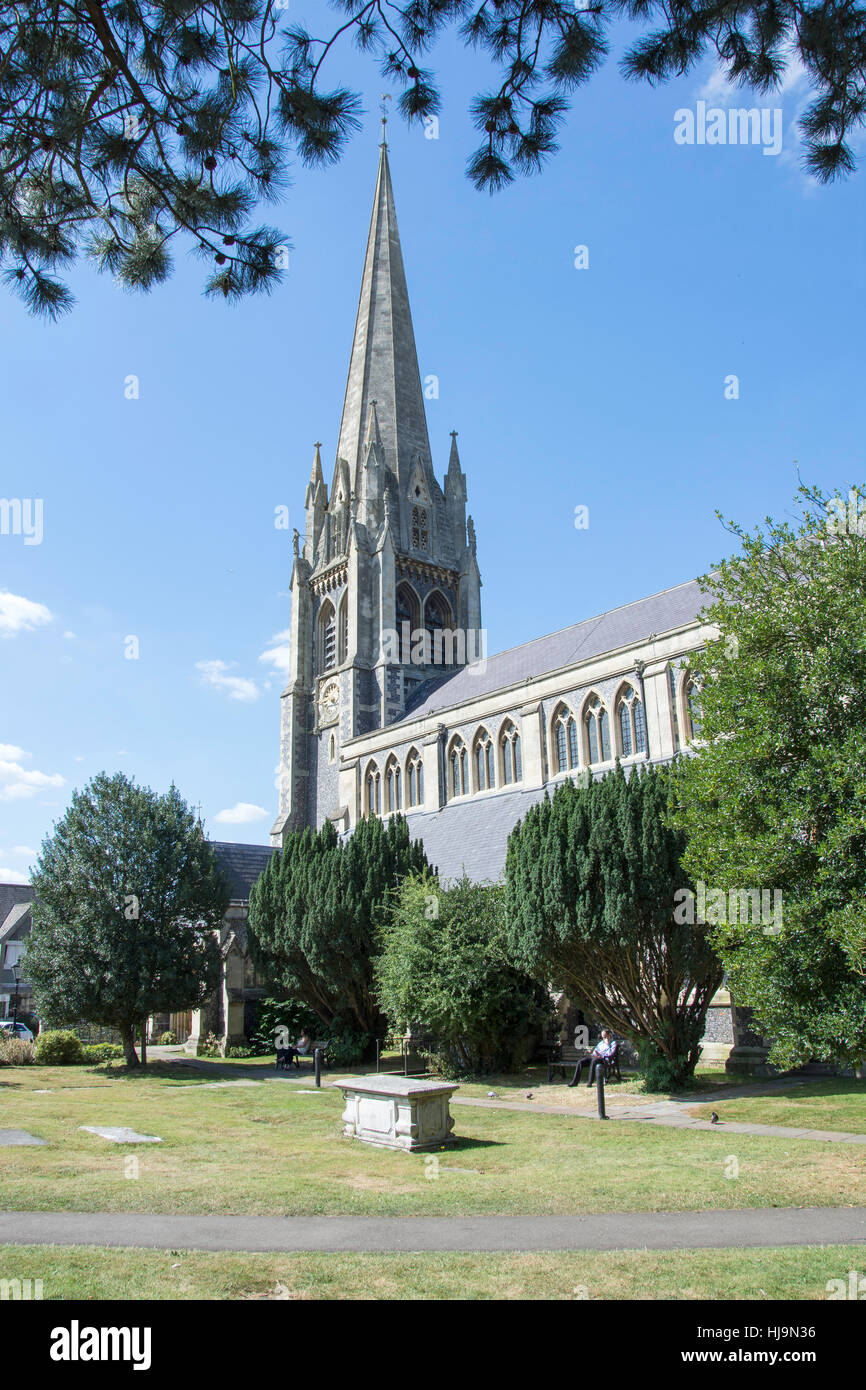 St Martin's Church, Church Street, Dorking, Surrey, England, United Kingdom - Stock Image