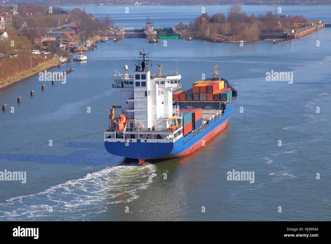 aerial perspective, container ship, sluice, cargo ship, merchant ship, sailing Stock Photo