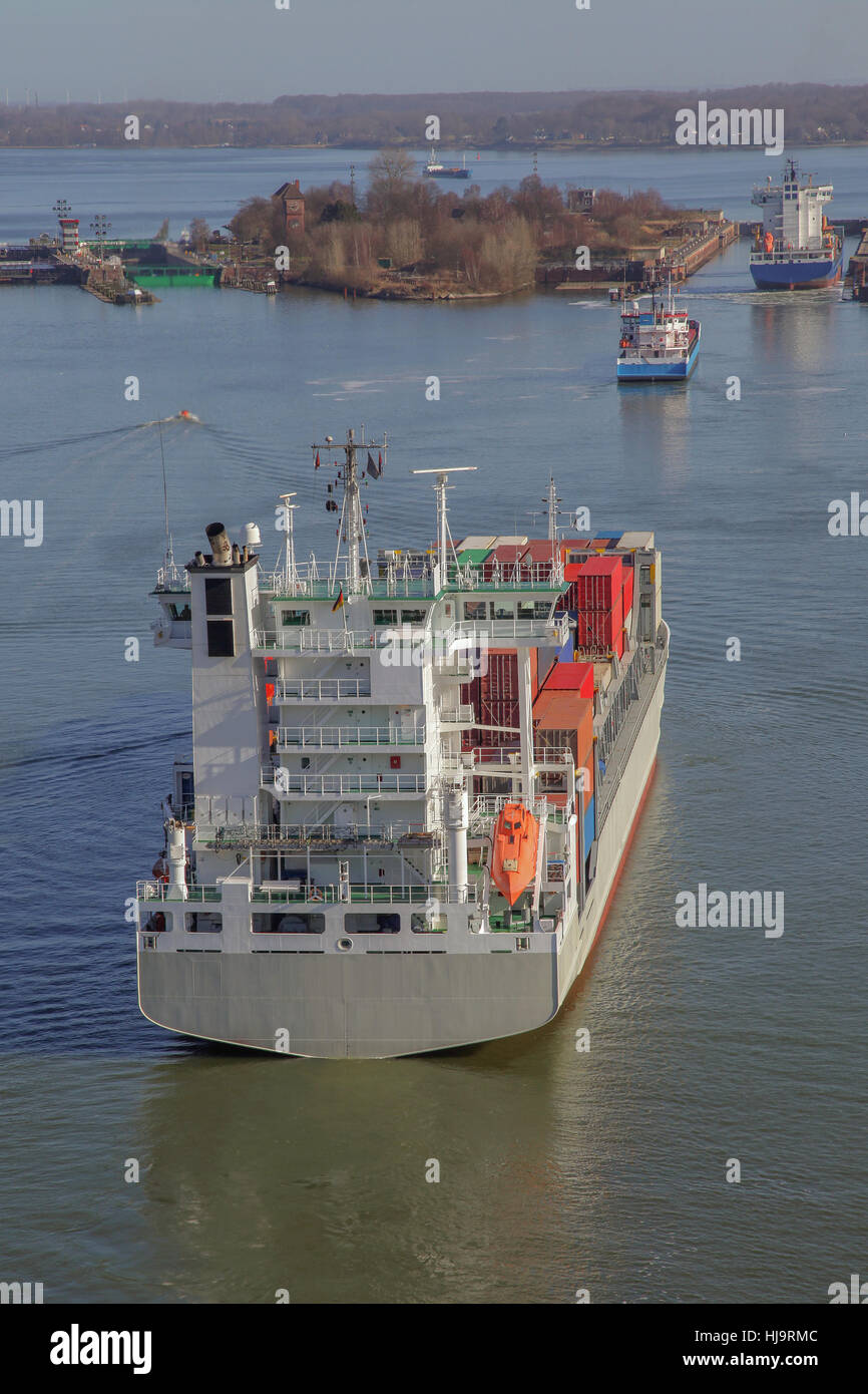aerial perspective, container ship, sluice, cargo ship, merchant ship, sailing Stock Photo