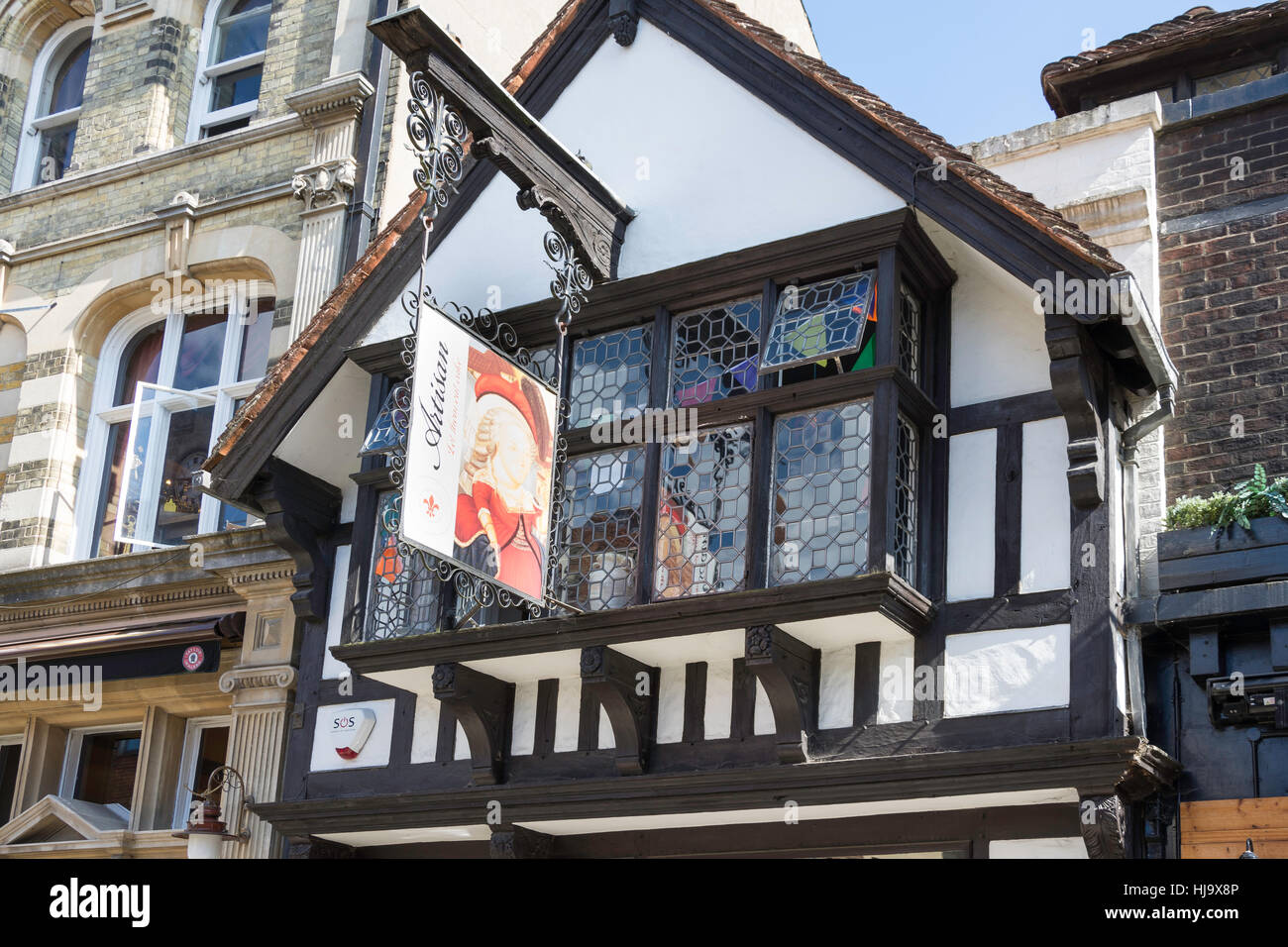 Artisan Tea Rooms & Patisserie in period building, Market Square, Horsham, West Sussex, England, United Kingdom - Stock Image