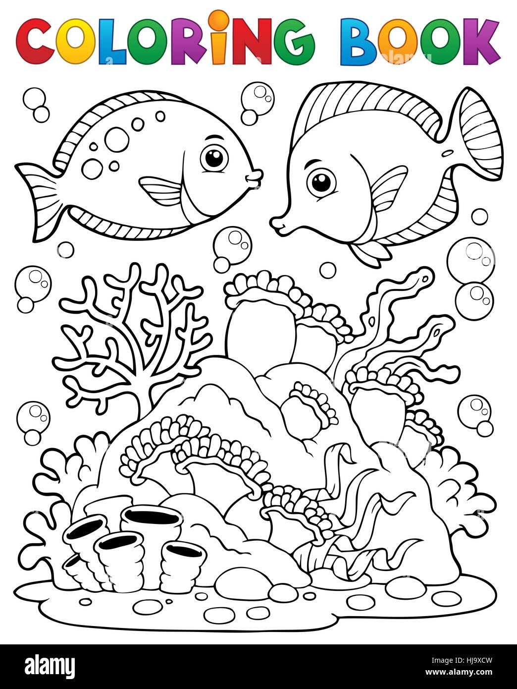 Coloring book coral reef theme 1 - picture illustration. - Stock Image