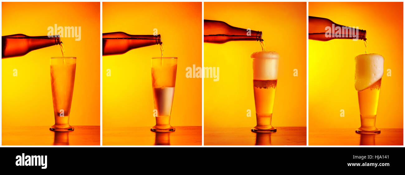 Pouring beer sequence collage, four photos of a beer glass, refill concept, pub menu, oktoberfest holiday still - Stock Image