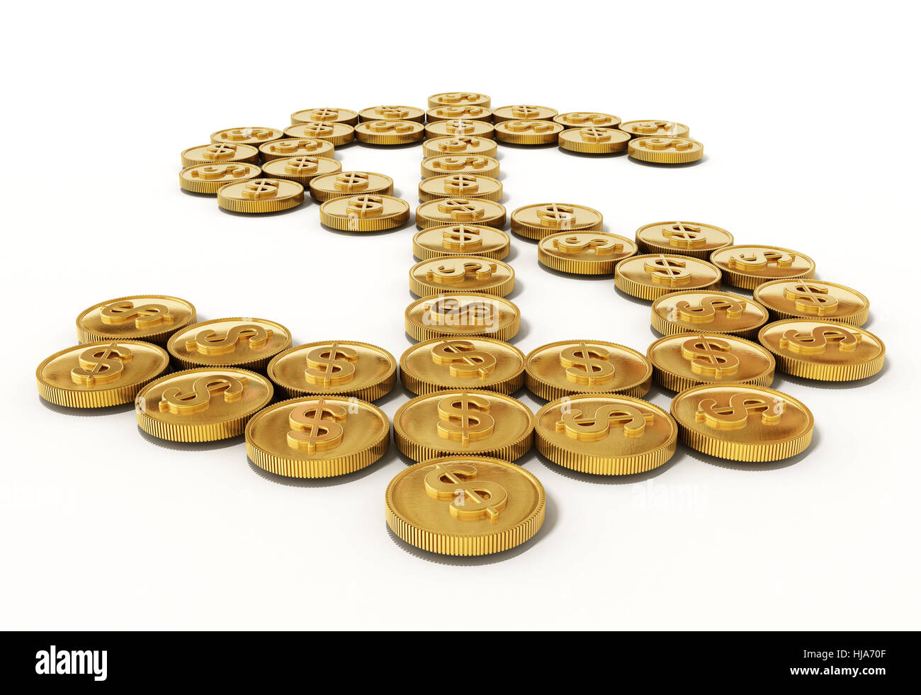 Gold coins forming dollar symbol. 3D illustration. - Stock Image