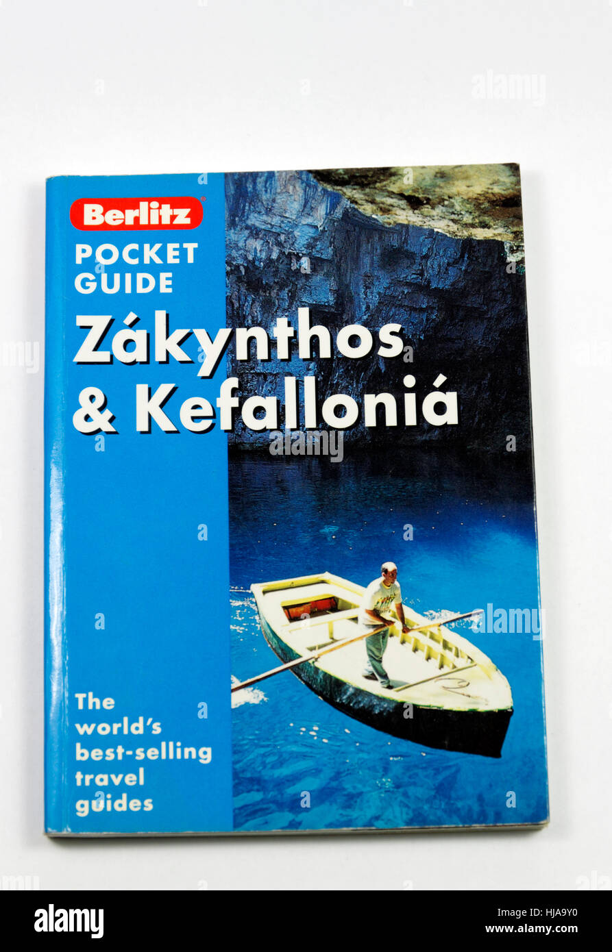 Travel guide book to Zakinthos and Kefallonia, Ionian Islands, Greece. - Stock Image