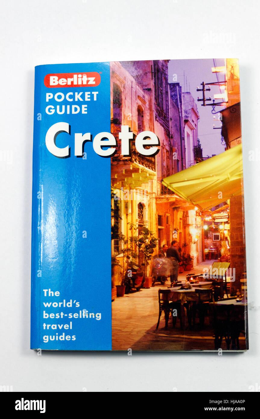 Travel guide book to Crete, Greece. - Stock Image