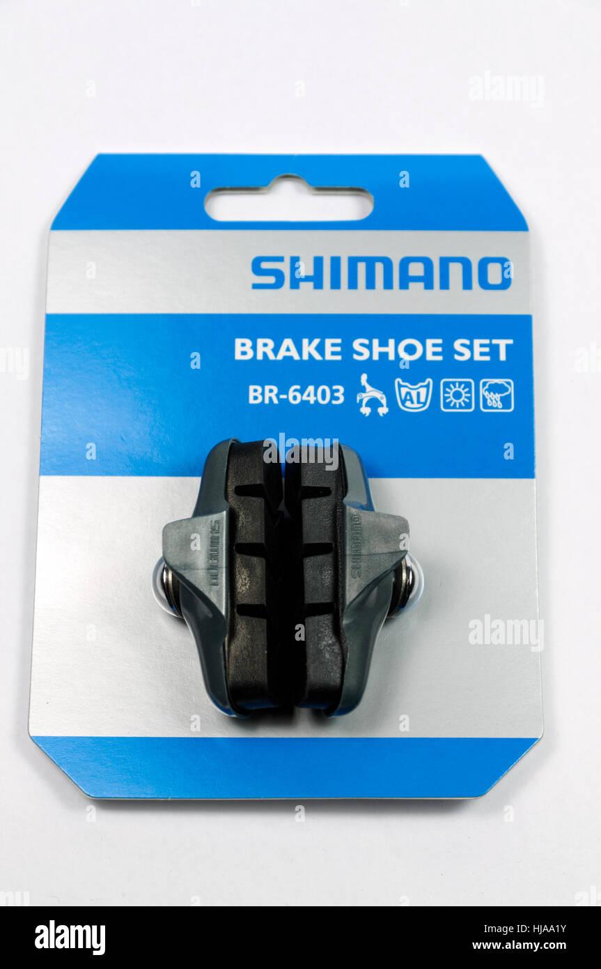 Shimano brake shoe set. - Stock Image