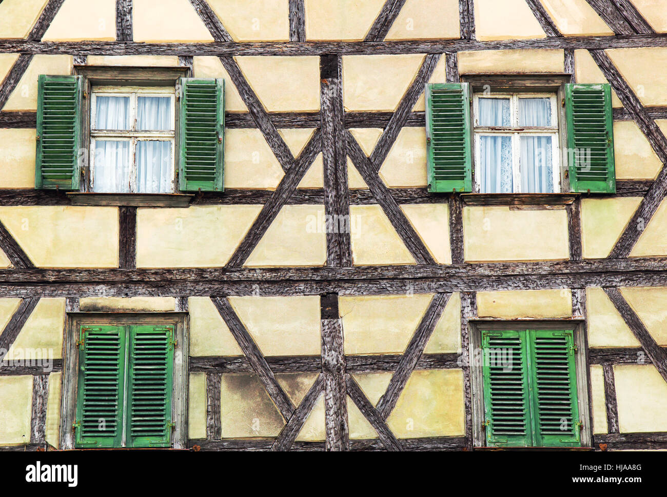 Facade of fachwerk medieval house - Stock Image