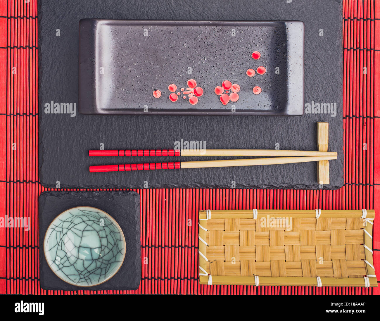 Oriental table setting  above - Stock Image