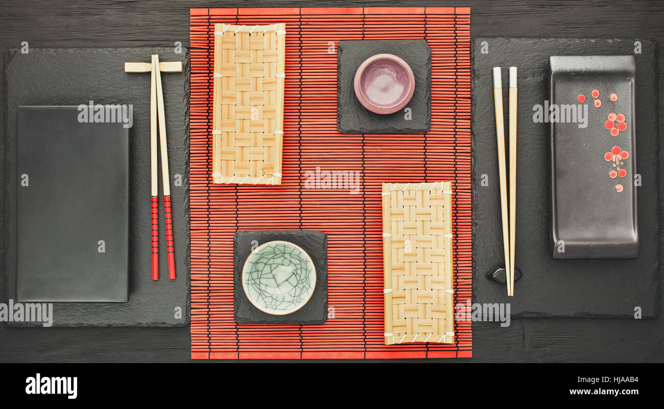 Oriental table setting  for two persons above - Stock Image