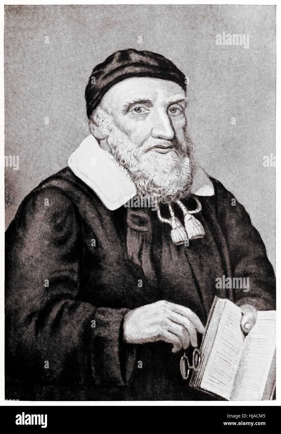 Reverend Richard Mather (1596-1669) first in a line of New England Puritan clergymen and leader of New England Congregationalism - Stock Image