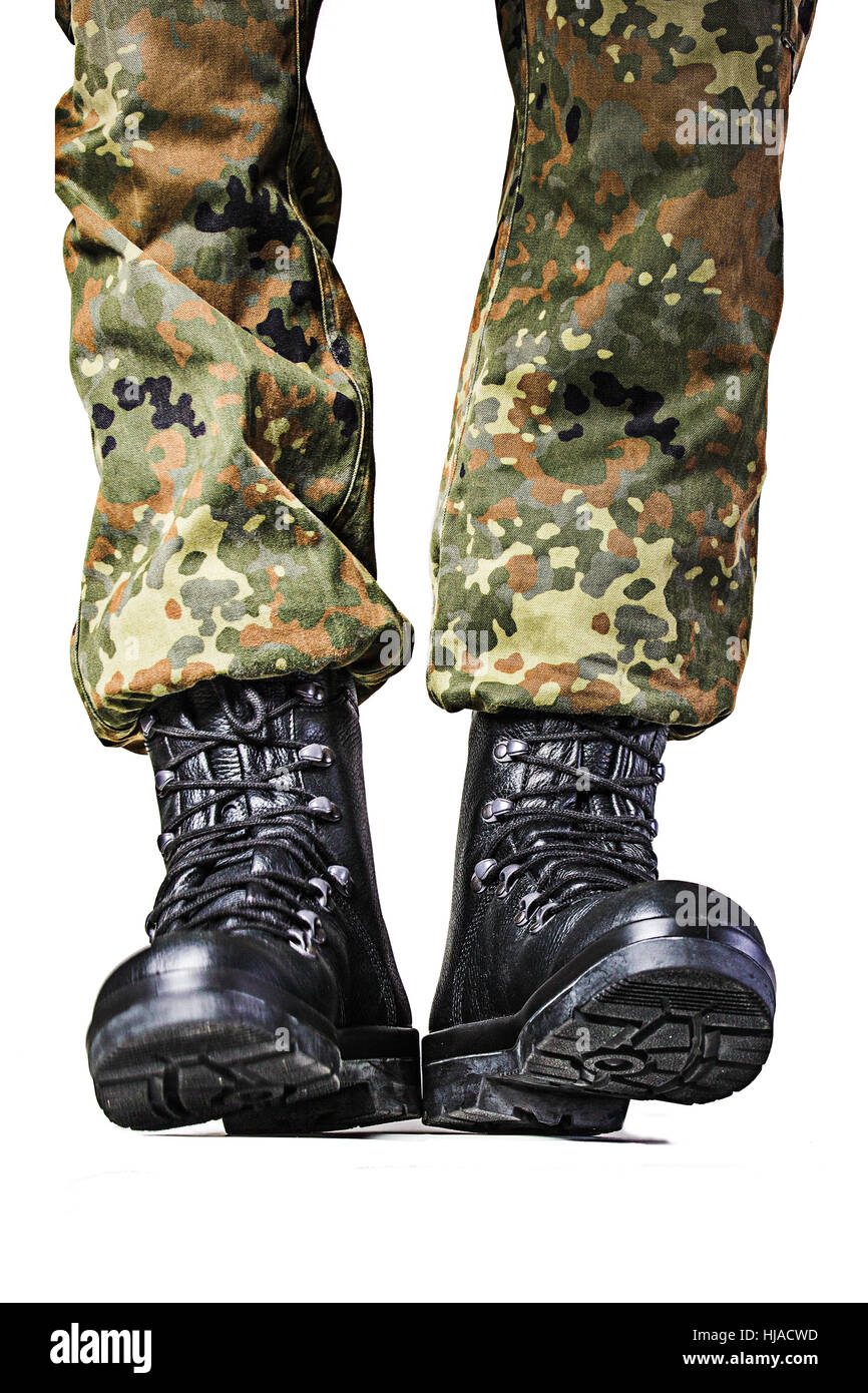 boot, army, soldier, uniform, german armed forces, military, report, boot, - Stock Image