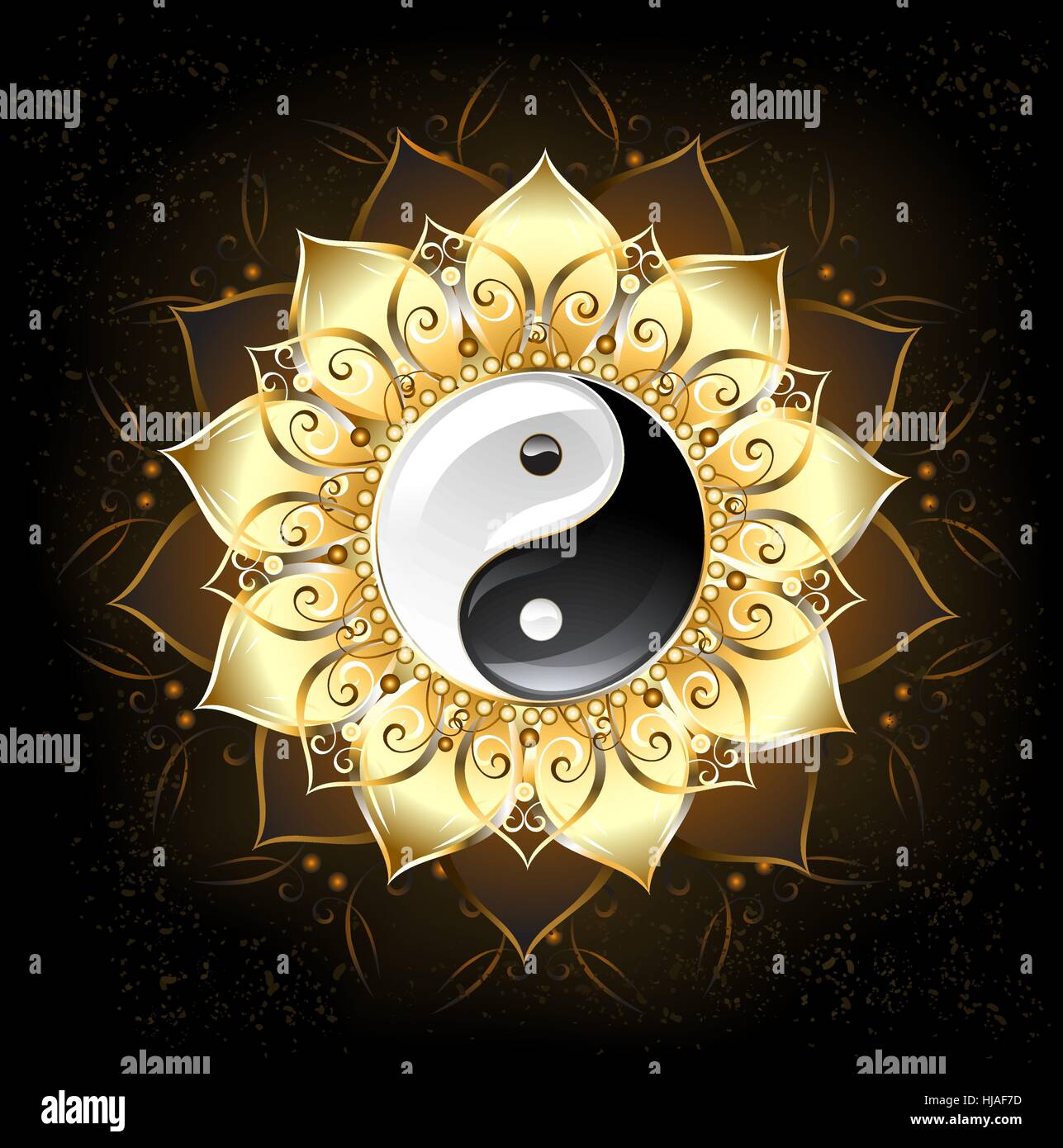Yin Yang Symbol Drawn In The Middle Of A Lotus With Golden Petals