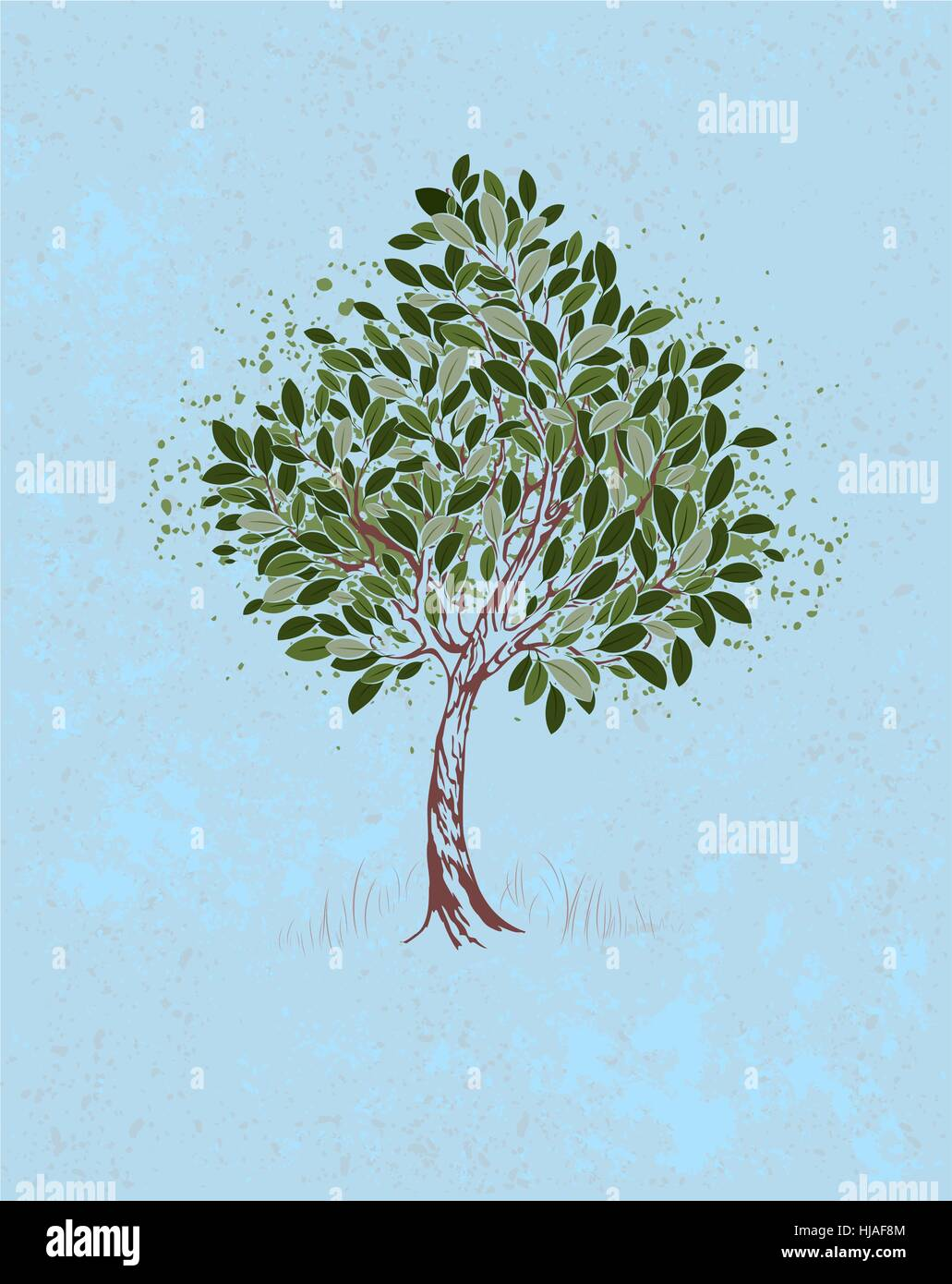 artistically painted young tree with green leaves on a blue textural background. - Stock Vector