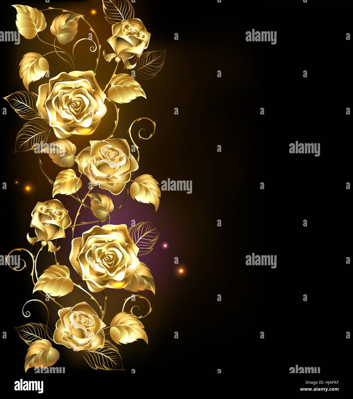 twisted gold roses on a black background. - Stock Vector