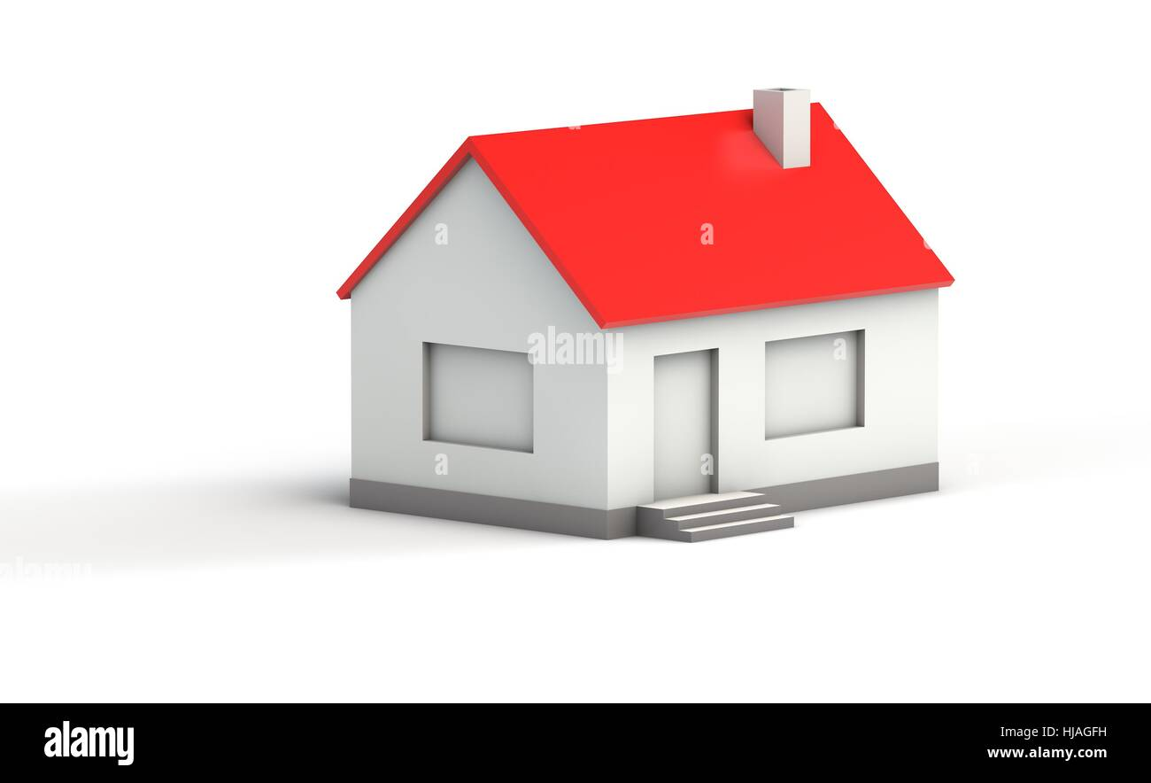 Simple 3d Model Of A House With Red Roof On White Background