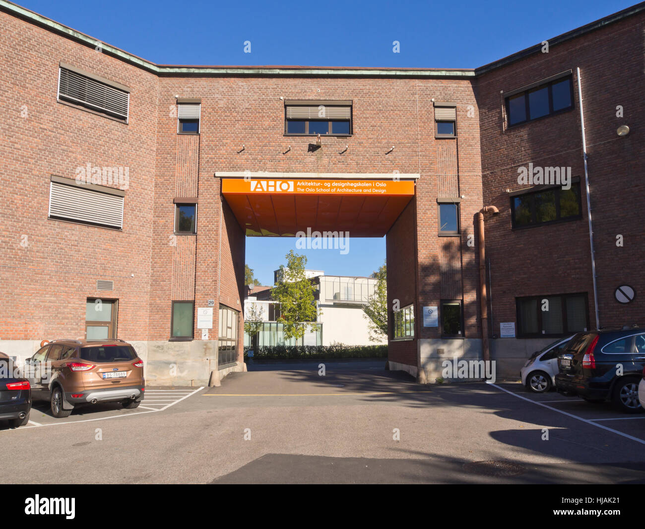 The Oslo school of architecture and design, main entrance gate, centrally placed in the Norwegian capital Stock Photo