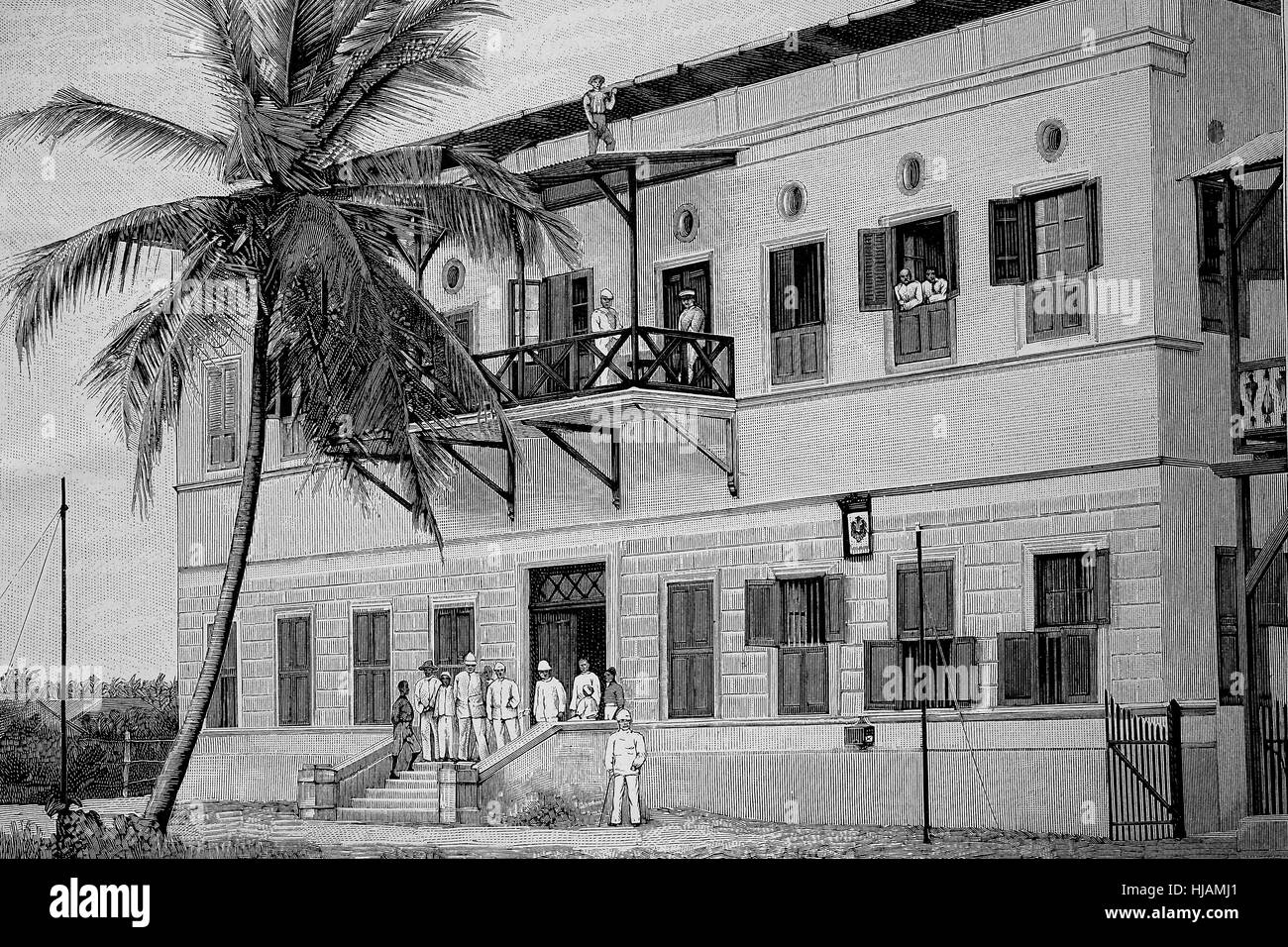the post office at Dar-es-Salaam, Tanzania, former german east-africa, historical image or illustration from the - Stock Image