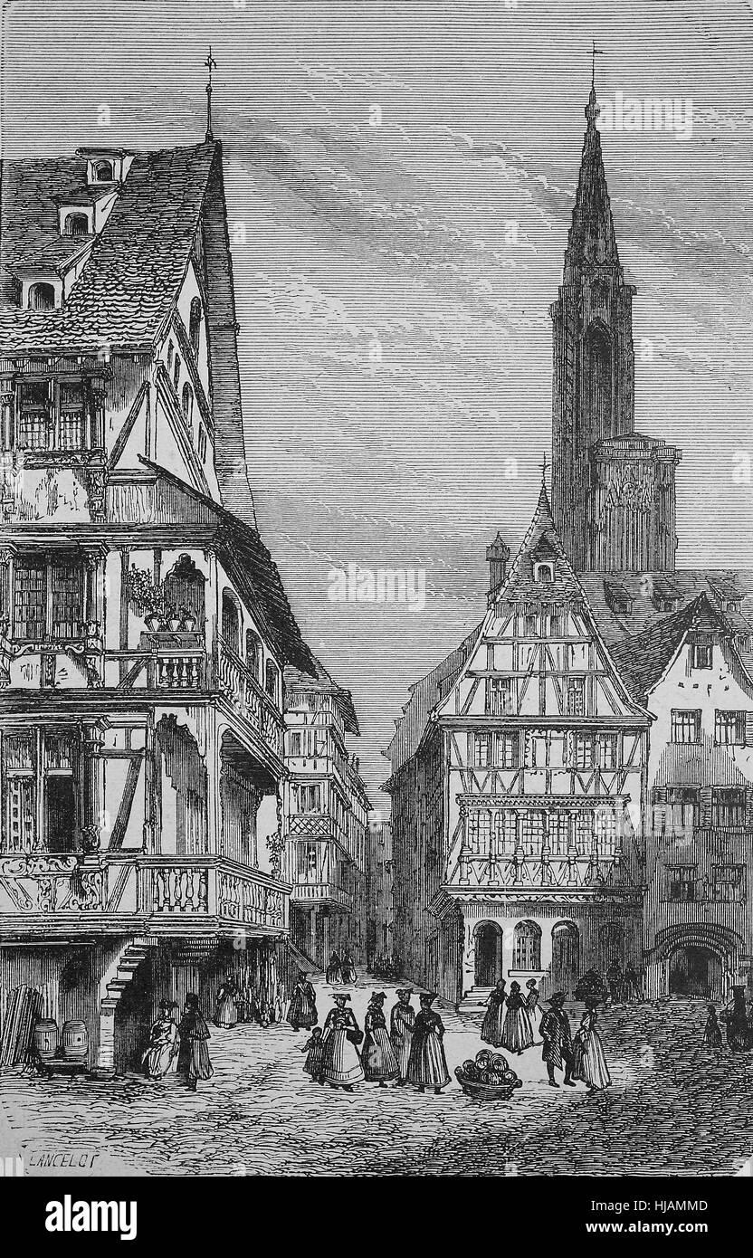 Place du Marché aux Cochons de Lait, the Ferkelmarkt, at Strasbourg, France, historical image or illustration - Stock Image