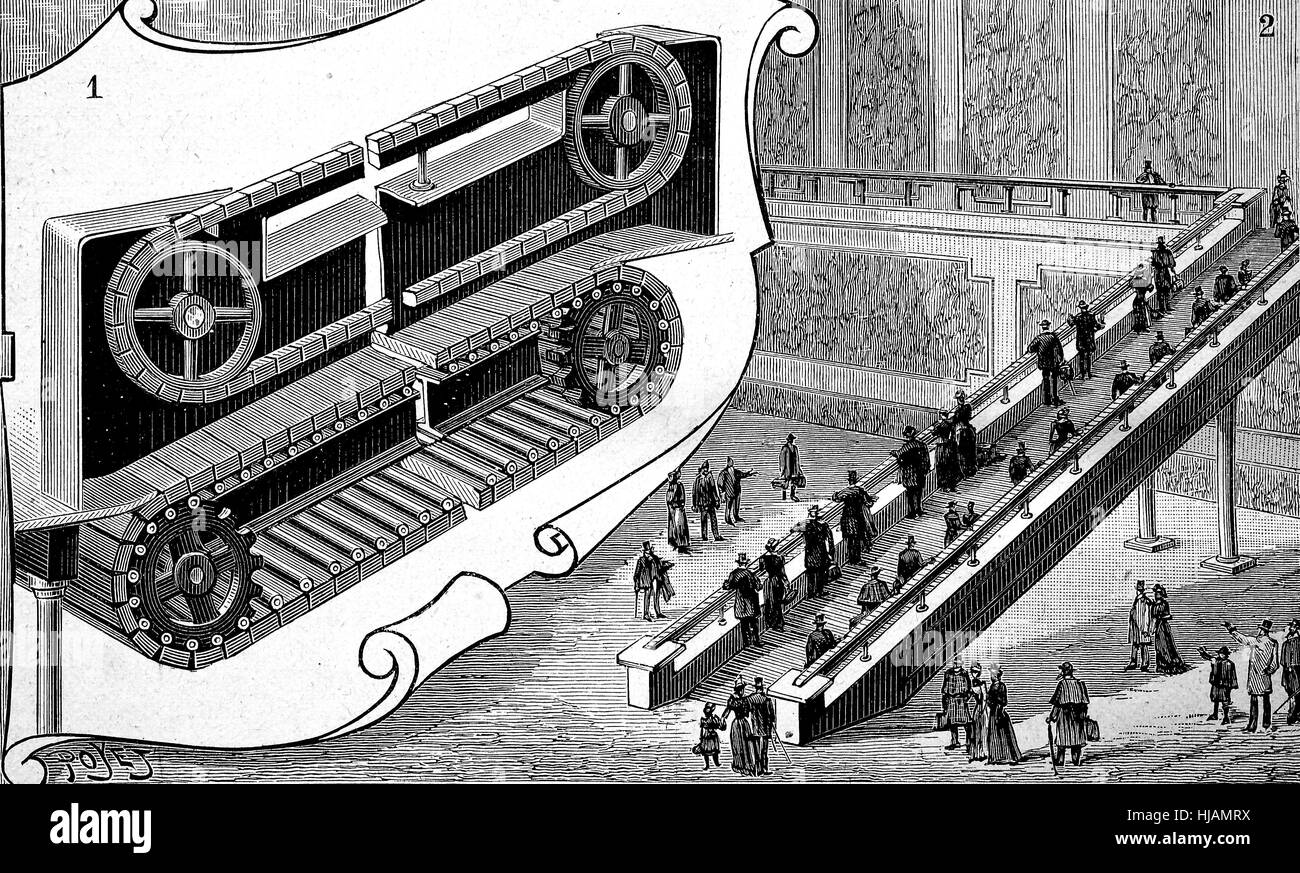 Conveyor, automatic staircase for people in the railway station of Cortland Street, New York, America, historical - Stock Image