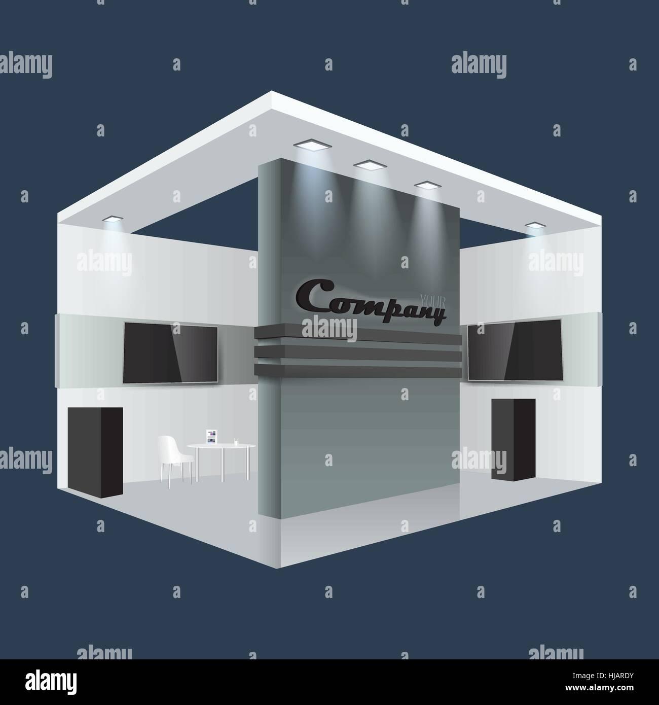 Creative Booth Exhibition : Illustrated unique creative exhibition stand display design info