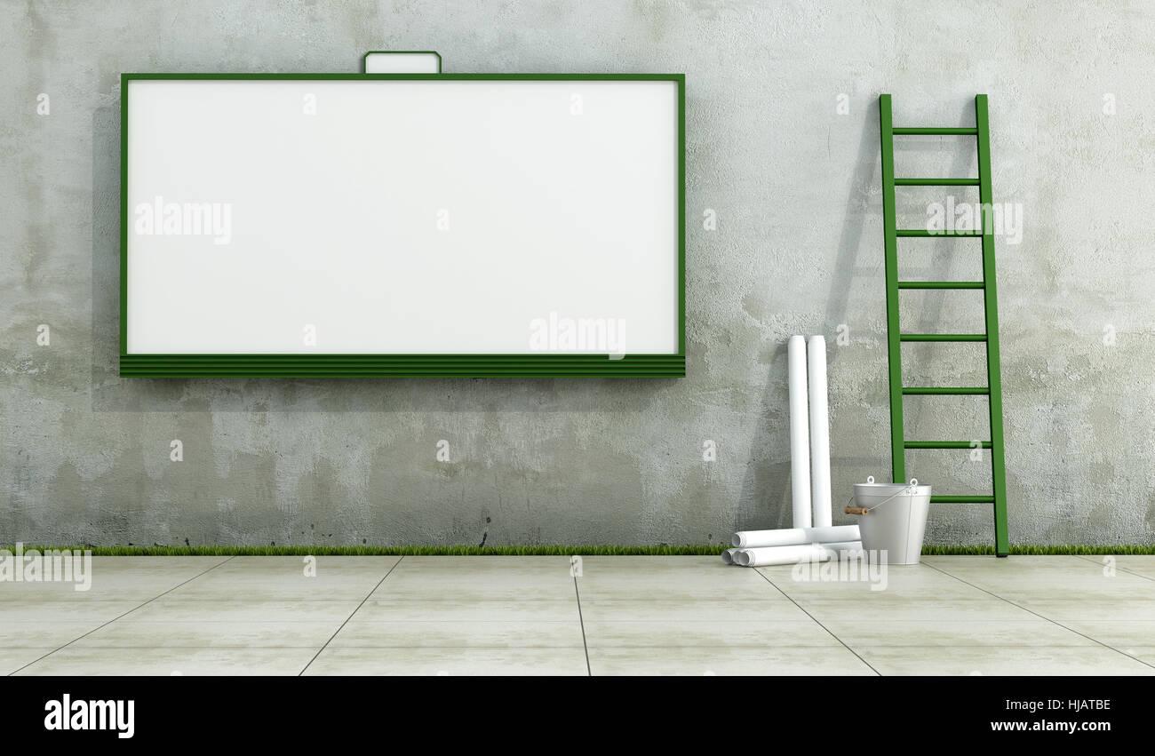 blank, european, caucasian, wall, poster, uninhabited, urban, ladder, - Stock Image