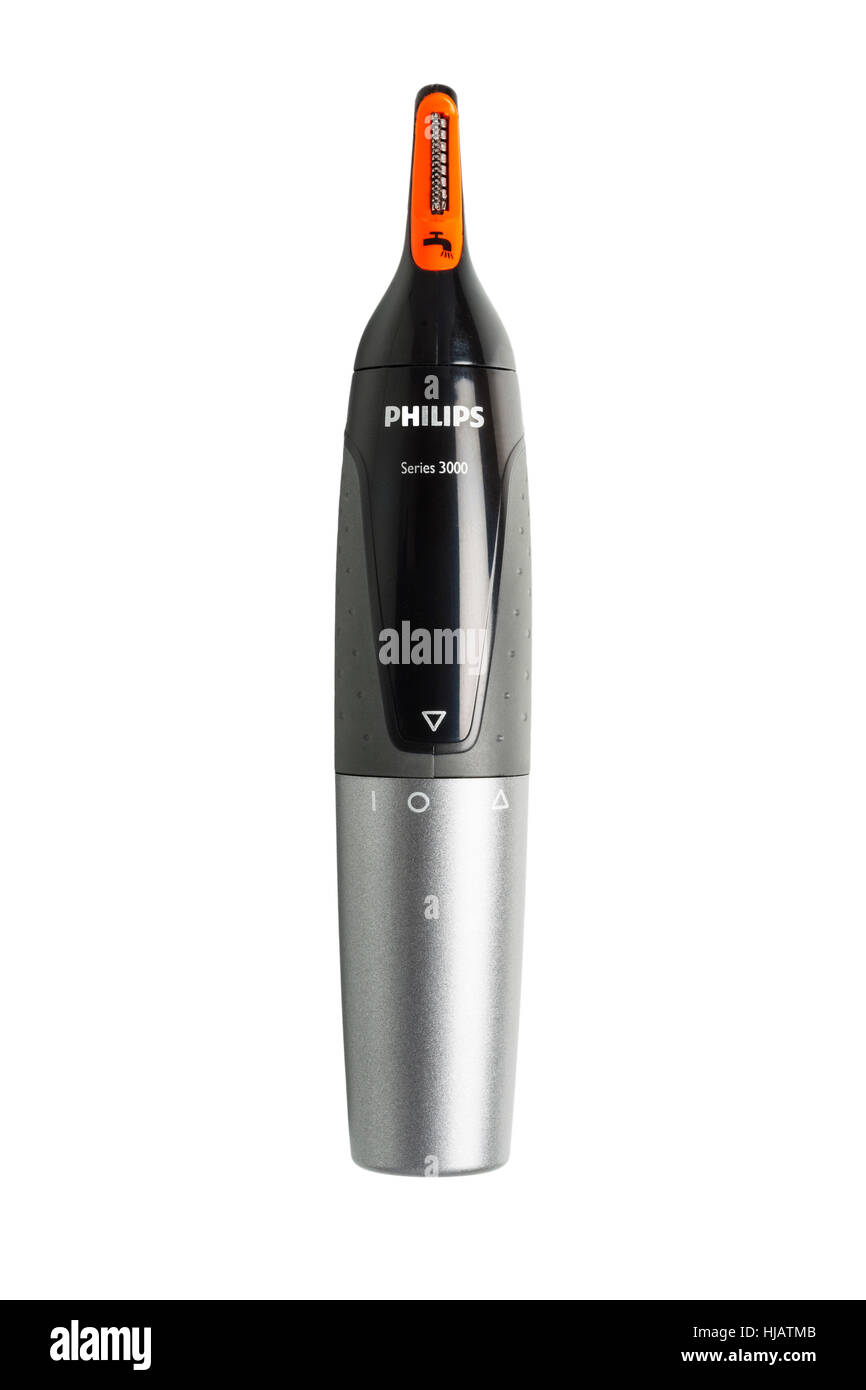 A nose and ear trimmer for men on a white background - Stock Image