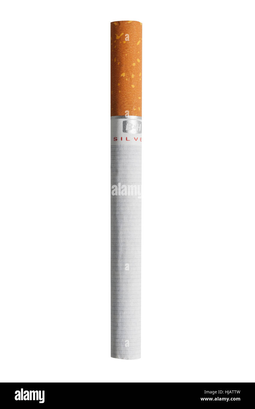 A Benson & Hedges cigarette on a white background - Stock Image