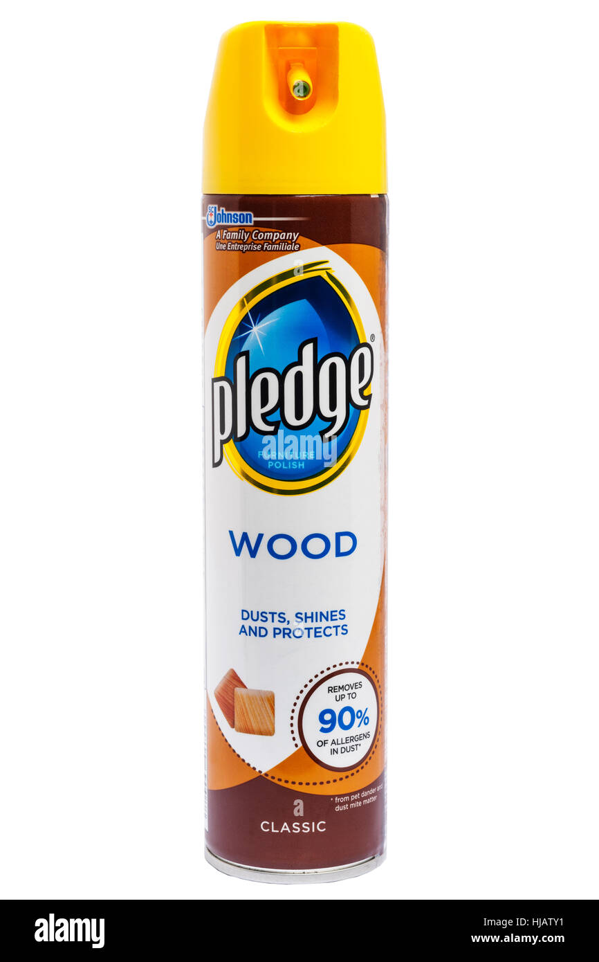 A tin of Pledge wood furniture polish on a white background - Stock Image