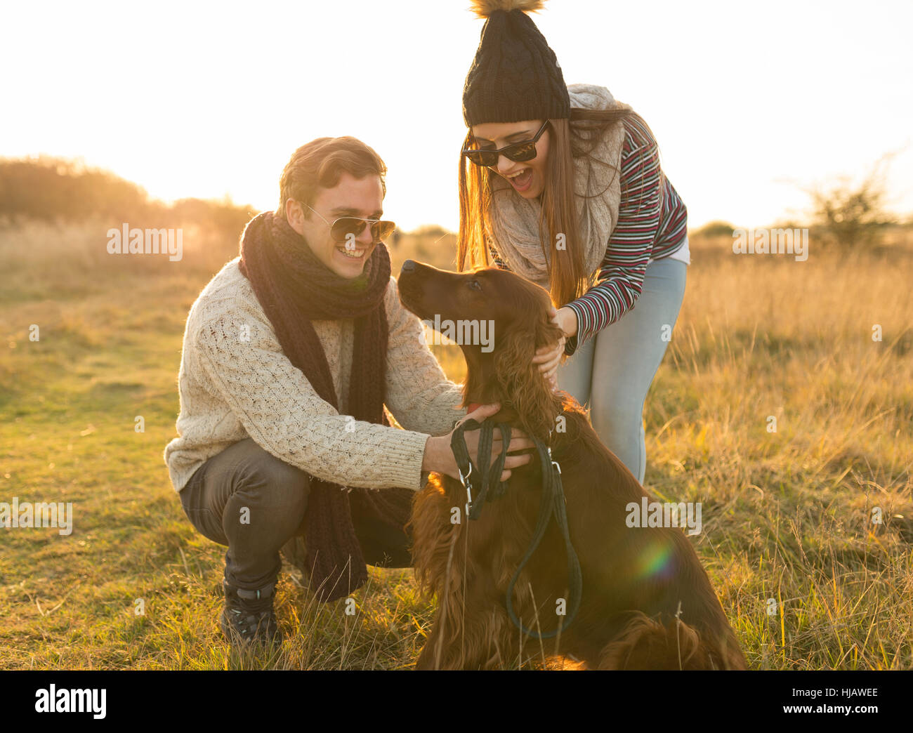 Young couple walking dog in field - Stock Image