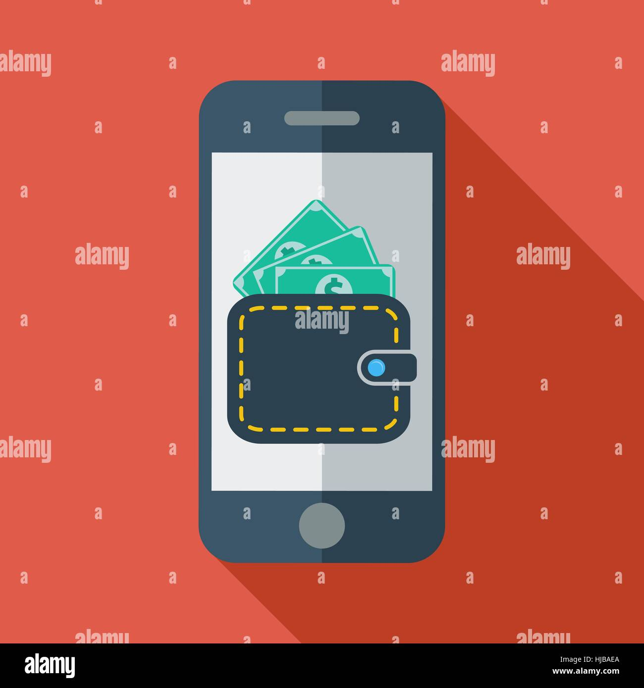 Phone with wallet. Color Flat design style. Vector illustration. - Stock Vector