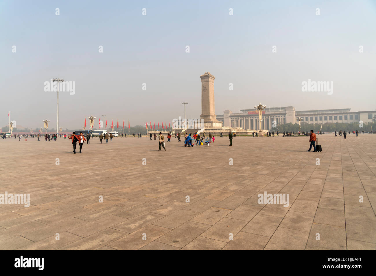 The Monument to the People's Heroes on Tiananmen Square, Beijing, People's Republic of China, Asia - Stock Image