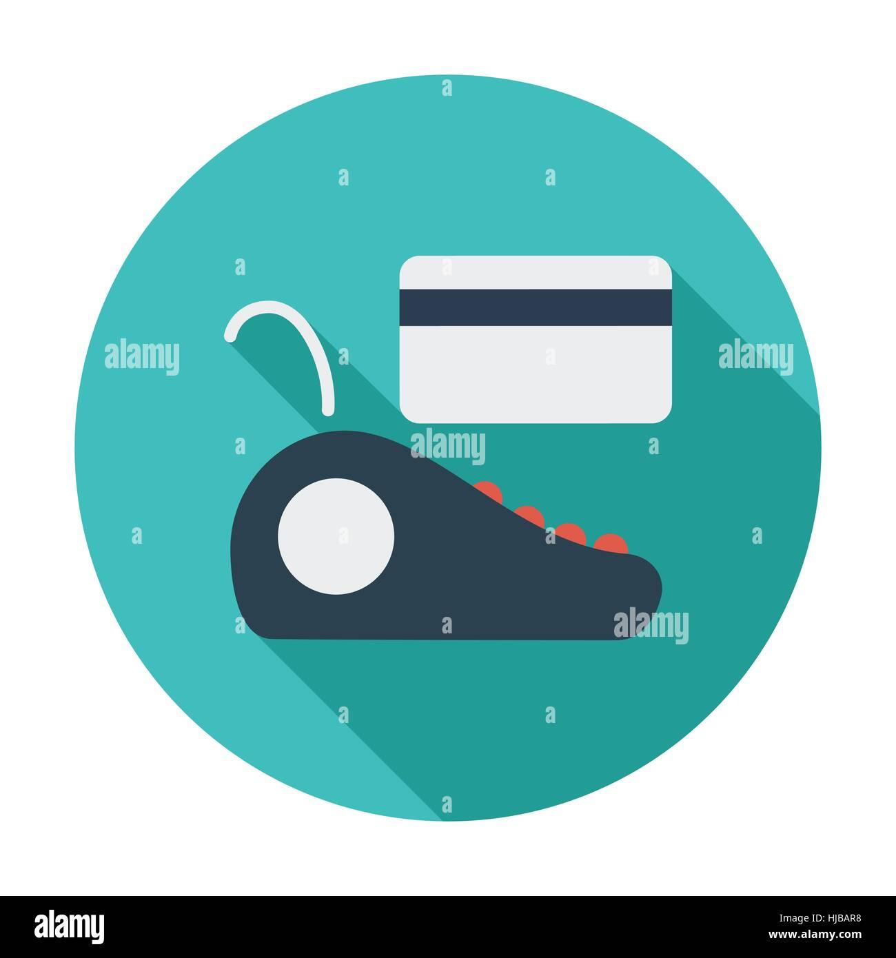 POS terminal. Single flat color icon. Vector illustration. Stock Vector