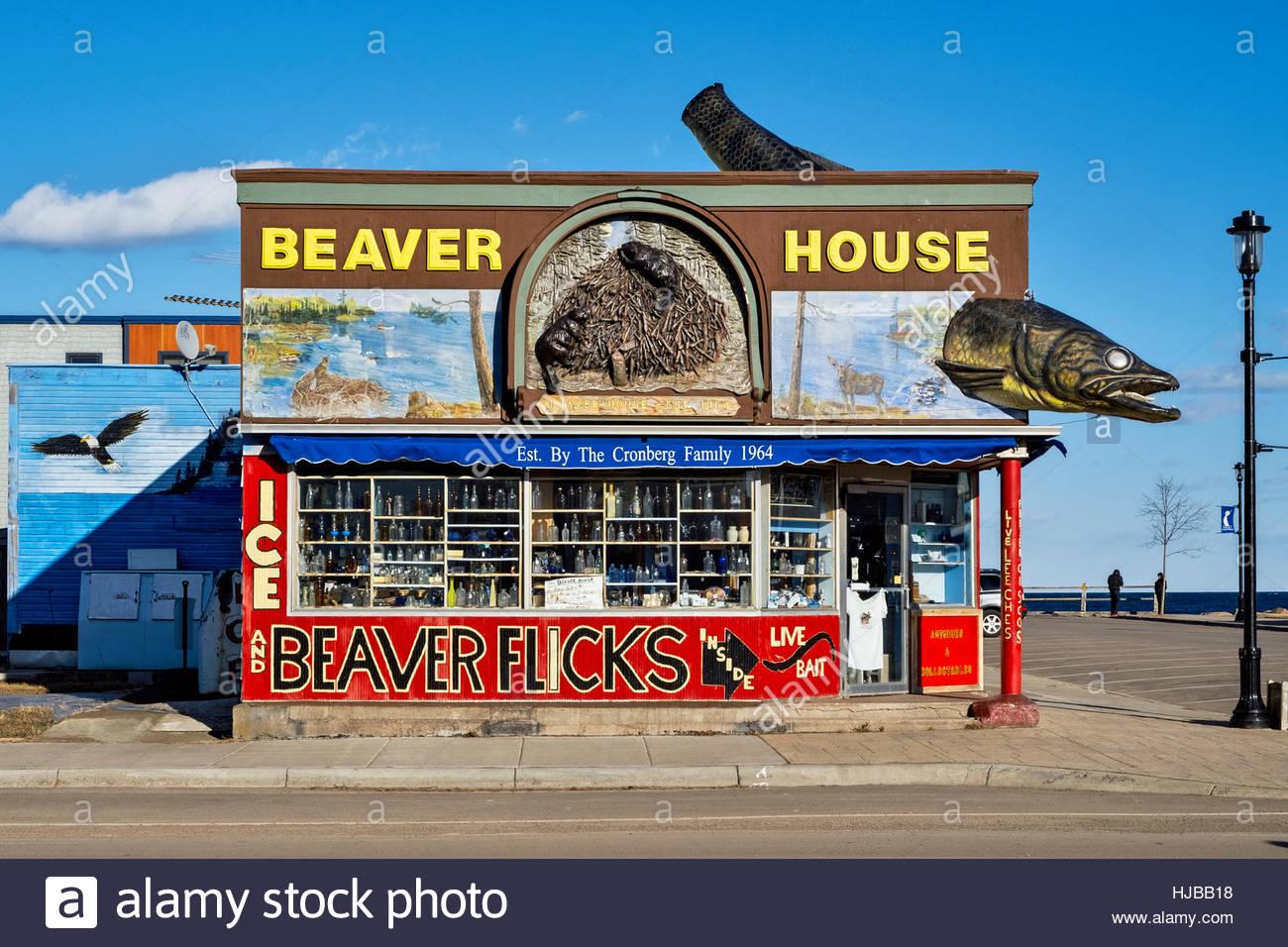 Beaver House Bait and Tackle Grand Marais Minnesota MN - Stock Image