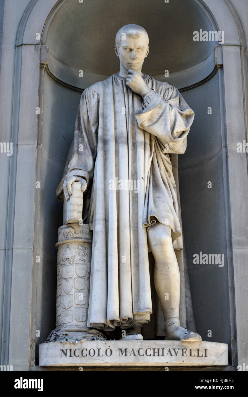 Florence. Italy. Statue of Niccolò Machiavelli (1469-1527), Uffizi Gallery. Stock Photo