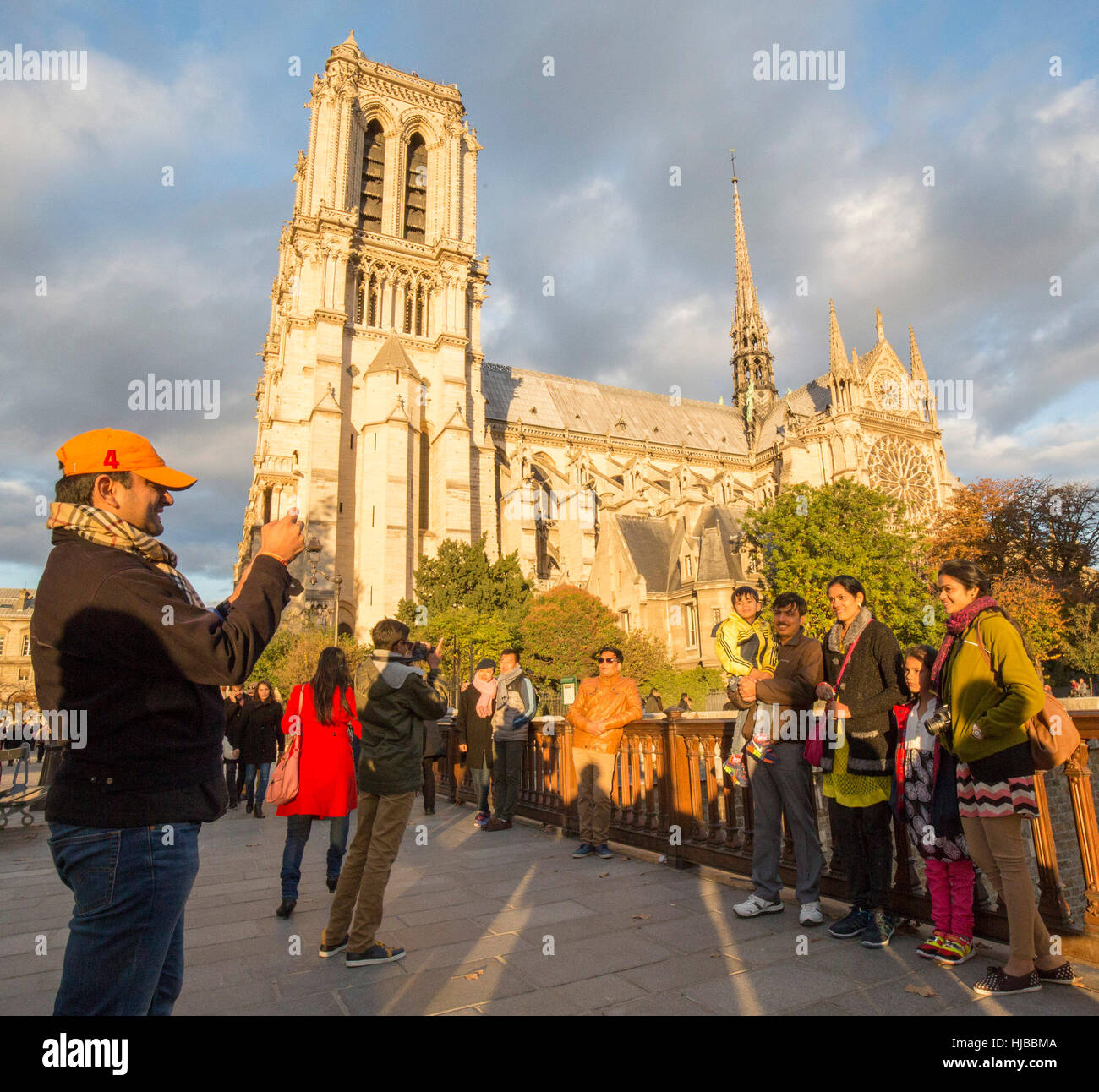 Indian tourists visiting Paris, Notre Dame cathedral, France - Stock Image
