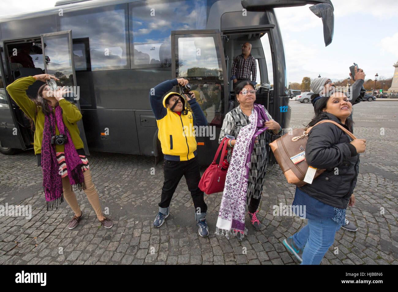 Indian tourists visiting Paris, Place de la Concorde, France - Stock Image