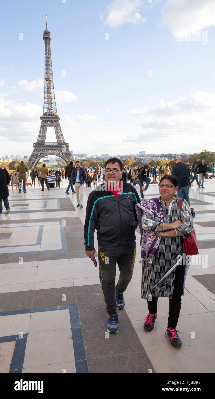 Indian tourists visiting Paris, Eiffel tower, Trocadero, France - Stock Image