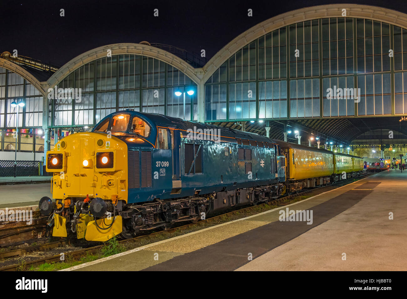 Class 37 diesel locomotive 37099 seen at Kingston Upon Hull on a Colas Rail operated test train. Stock Photo