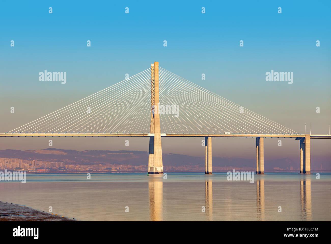 View of modern Vasco da Gama bridge in Lisbon, Portugal. - Stock Image