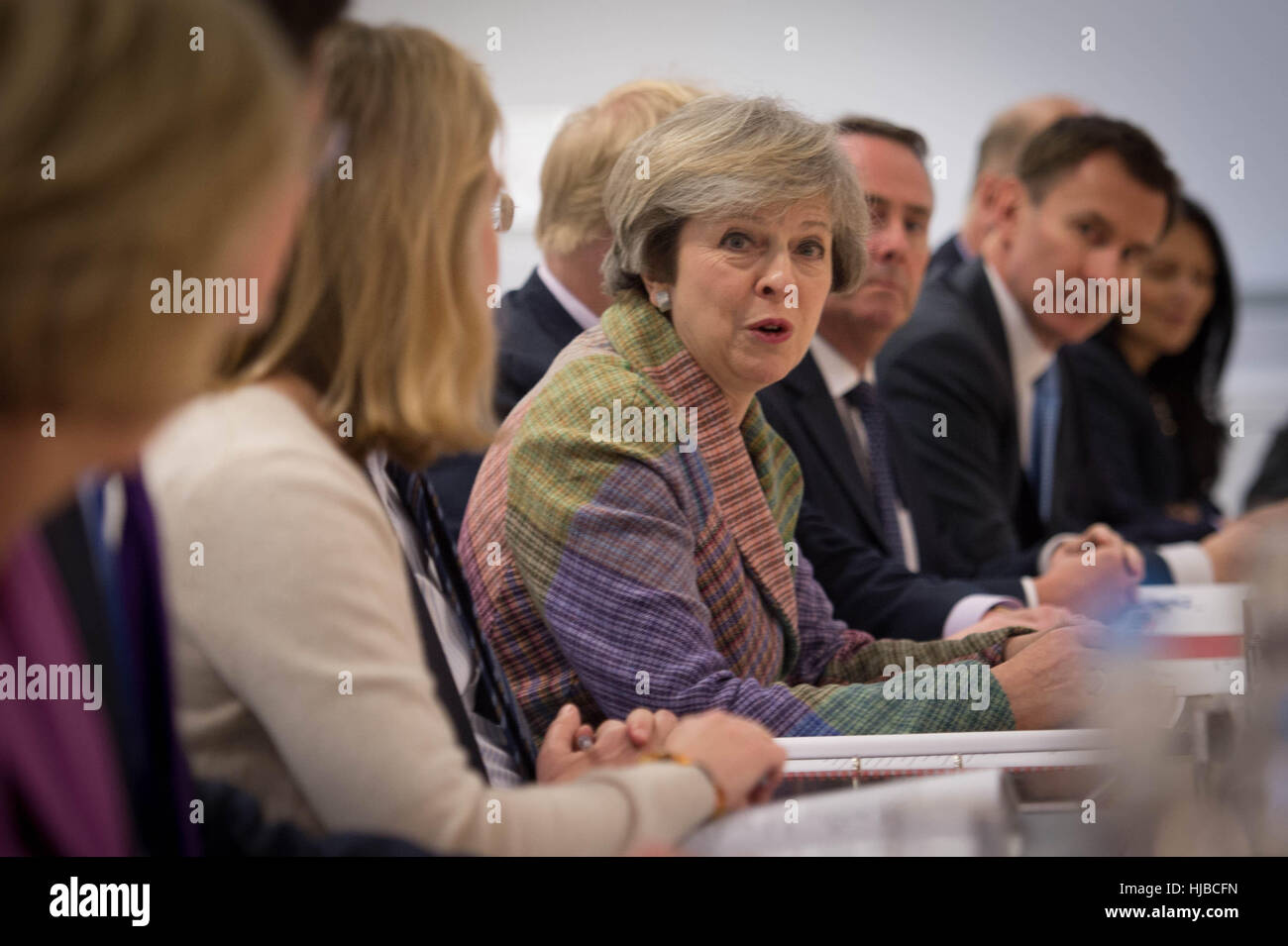 Prime Minister Theresa May Holds A Regional Cabinet Meeting In Stock